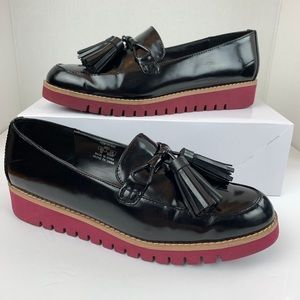 Zara Woman Black Patent Tassel Loafer Size 8/39
